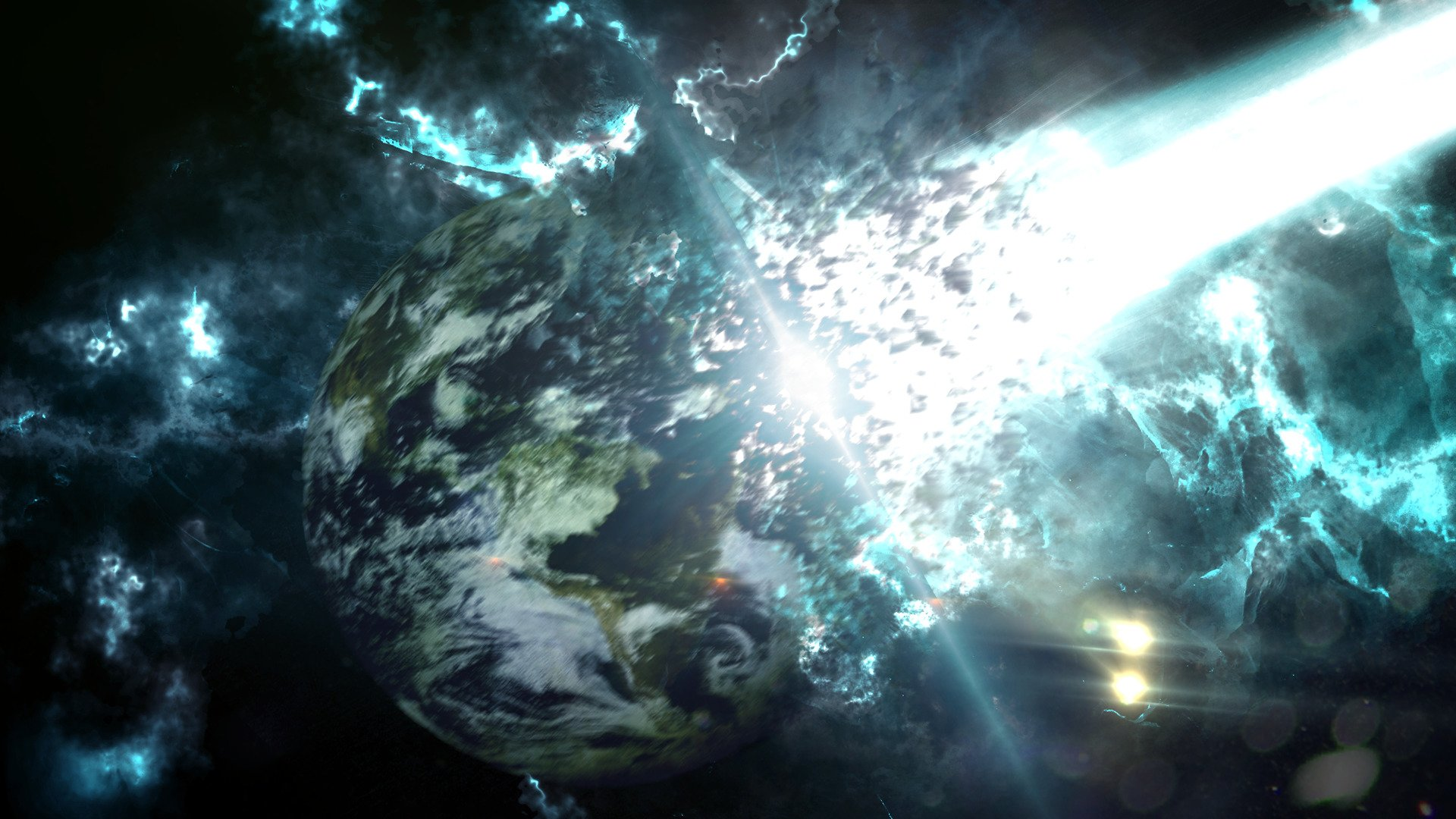 Anime Horror Wallpaper Space Meteors Earth Apocalyptic Destruction Science
