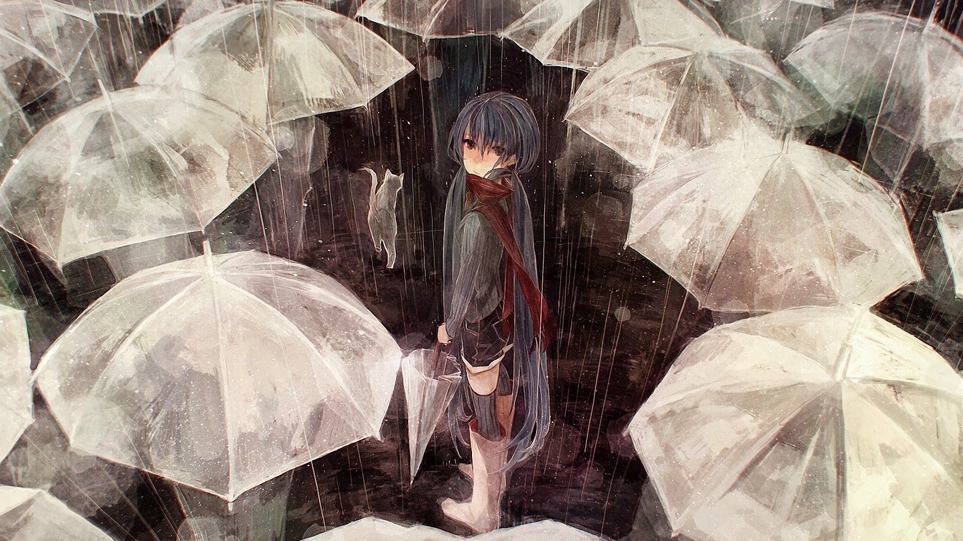 5760x1080 Wallpaper Girl Anime Girls Umbrella Rain Vocaloid Hatsune Miku Hd