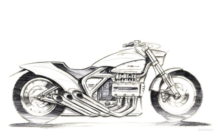 artwork, Vehicle, Motorcycle, Sketches, Honda HD