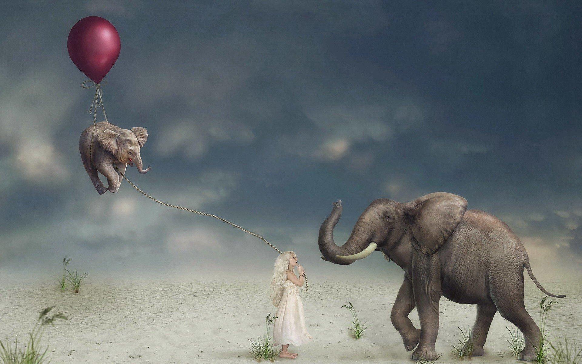 Cute Elephant Design Wallpaper Children Artwork Balloon Elephant Animals Surreal Hd