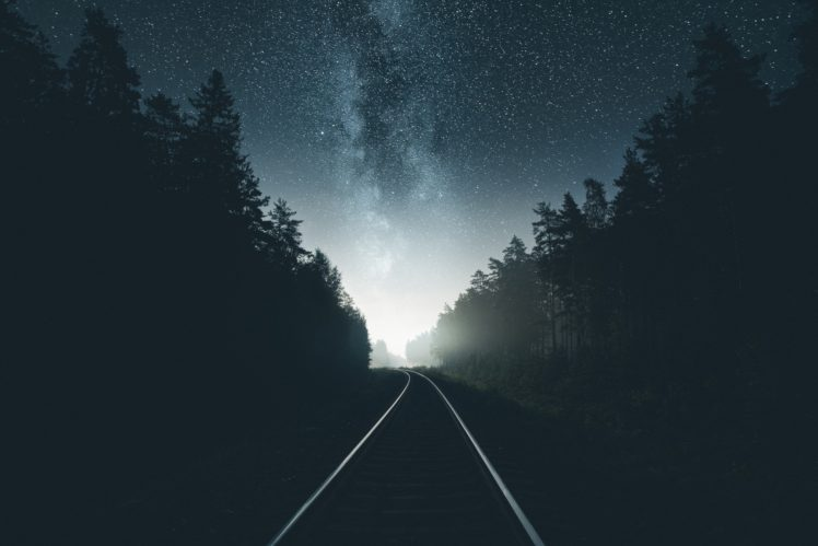 photography railway night forest
