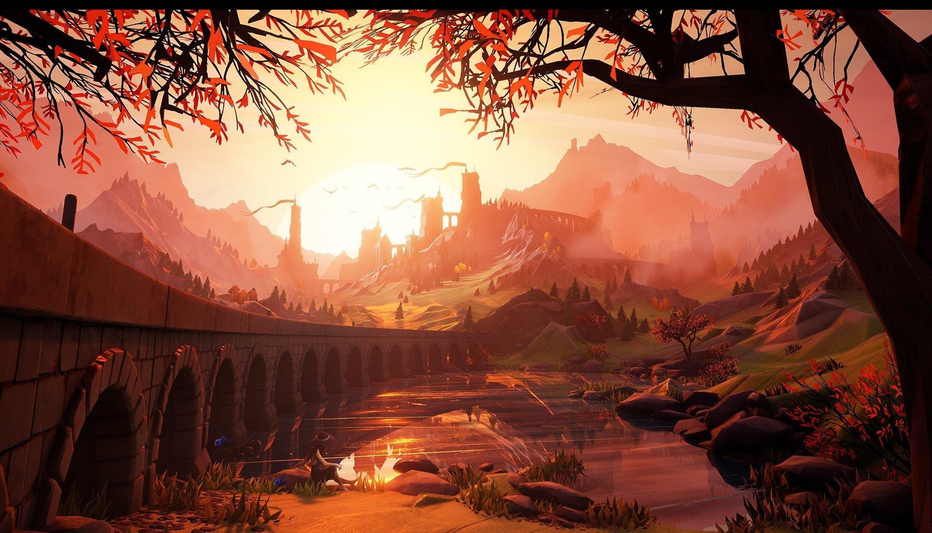 5760x1080 Anime Wallpaper Illustration Sunset Castle Artwork Hd Wallpapers