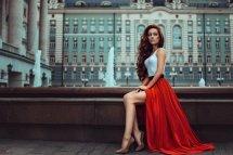 Red Hair Women Long Dress High Heels