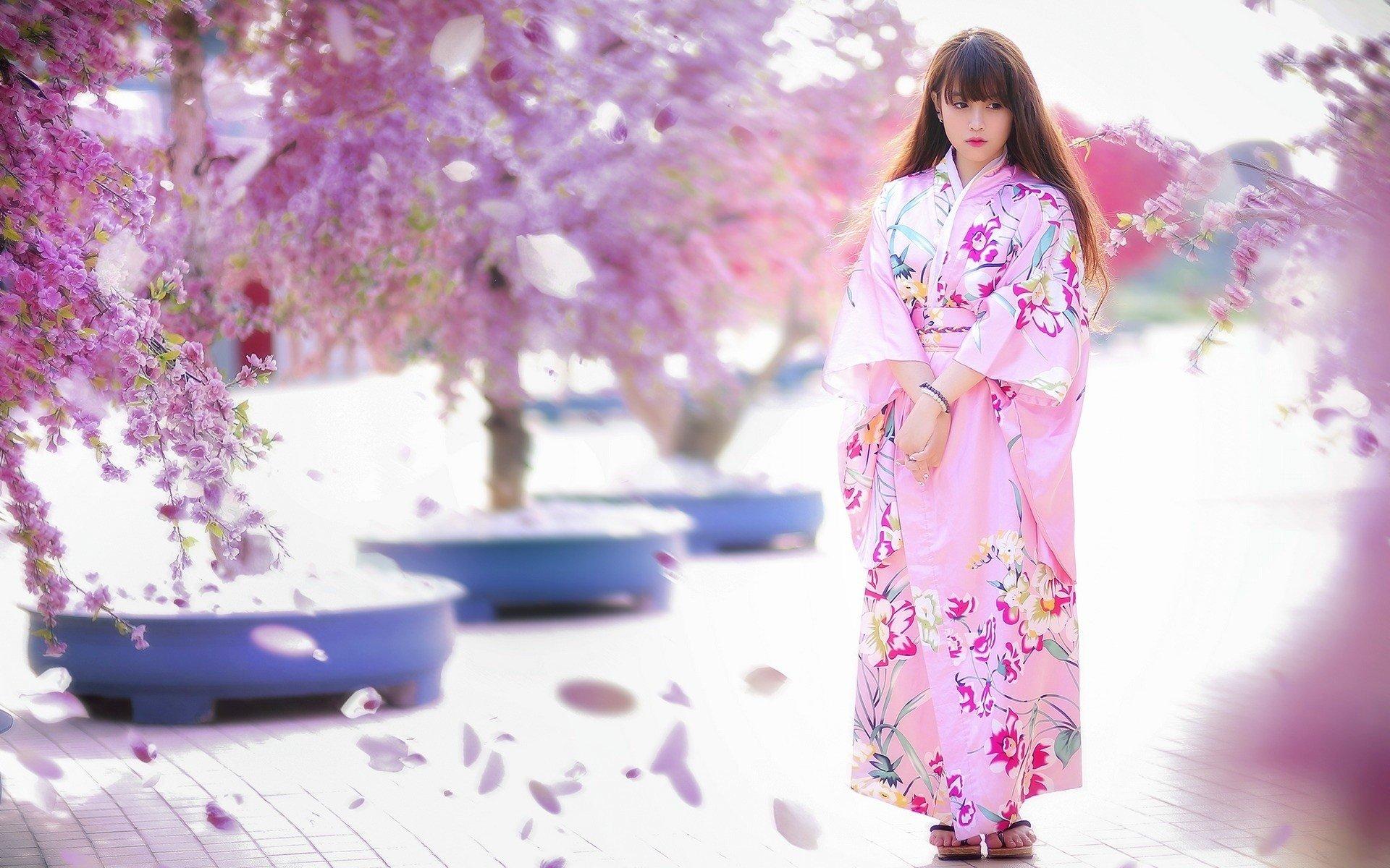 Cute Flamingo Wallpapers Women Model Brunette Long Hair Asian Women Outdoors