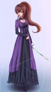 long hair brunette purple eyes