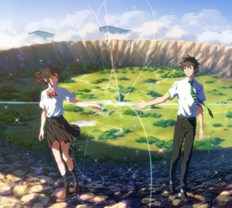 Short Hair Anime Anime Girls Kimi No Na Wa Your Name Miyamizu Mitsuha Tachibana Taki Knee Highs Black Hair Landscape Hd Wallpapers Desktop And Mobile Images Photos