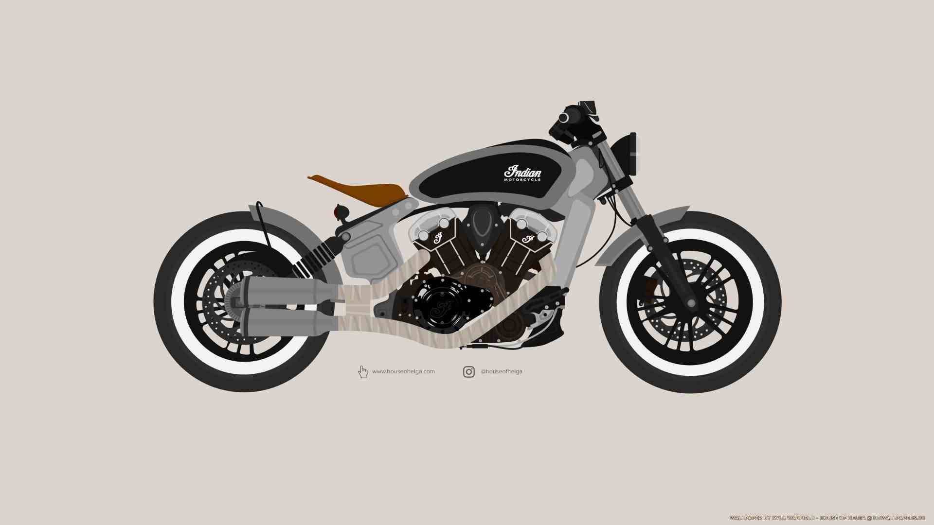 Bobber Motorcycle Illustration Hd Wallpapers