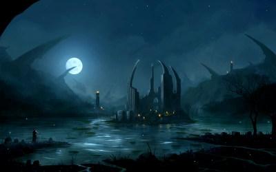 fantasy landscape wallpapers night dark background backgrounds hd desktop landscapes island castle land
