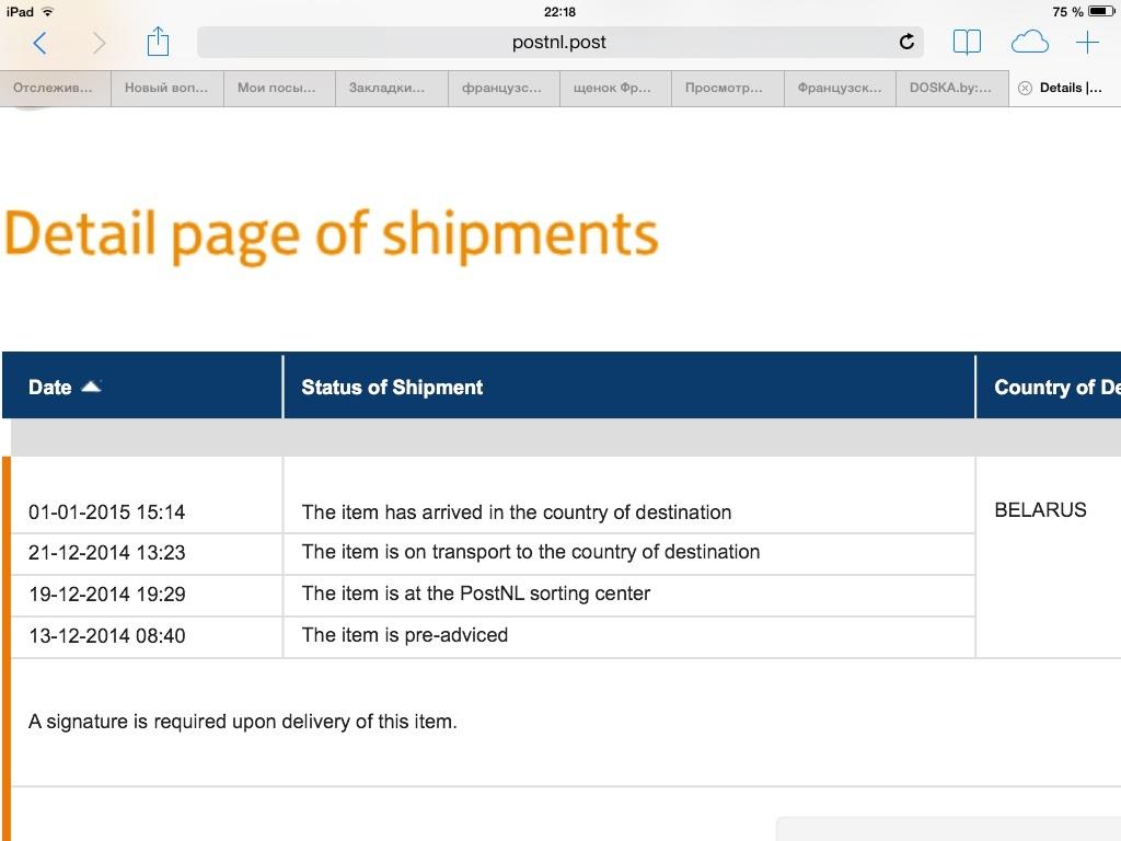 Так выглядит форма отслеживания посылок на сайте почты нидерландов