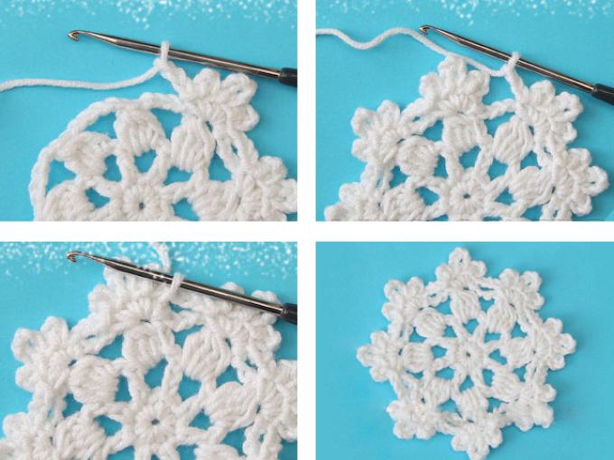 Hur man virkar en liten vit servett i form av snöflingor: ett diagram med en beskrivning, fjärde raden