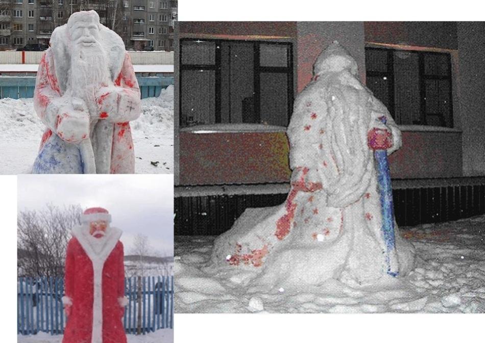从雪的肘部肘部完成的几张照片