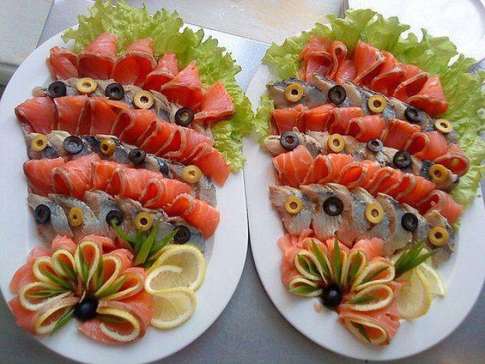 Оригинальное оформленное рыбного блюда