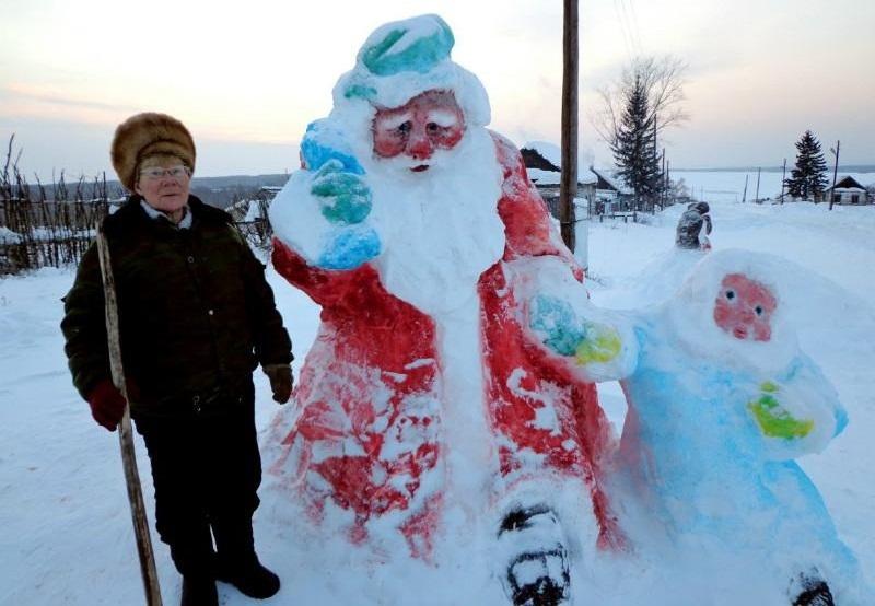 圣诞老人的照片从雪,例1的圣诞老人的照片