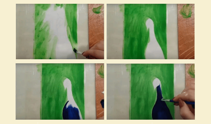 Draw a peacock with paints: make a background and torso