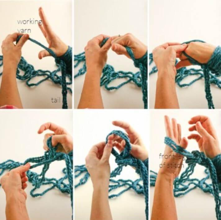 Вязание руками первого ряда