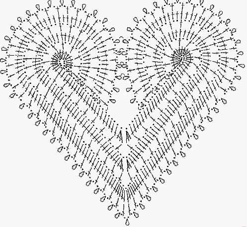 Hur man virkar en hjärtformad servett: beskrivning, diagram