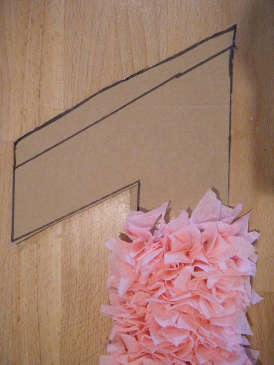 Pegamento cuadrados en la base de cartón