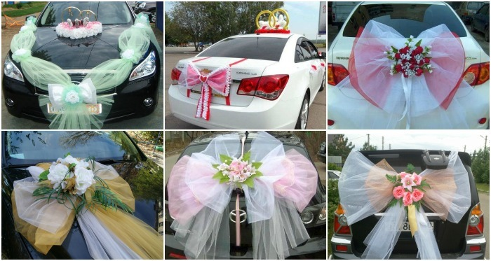 Wedding car hood decoration options with their own hands