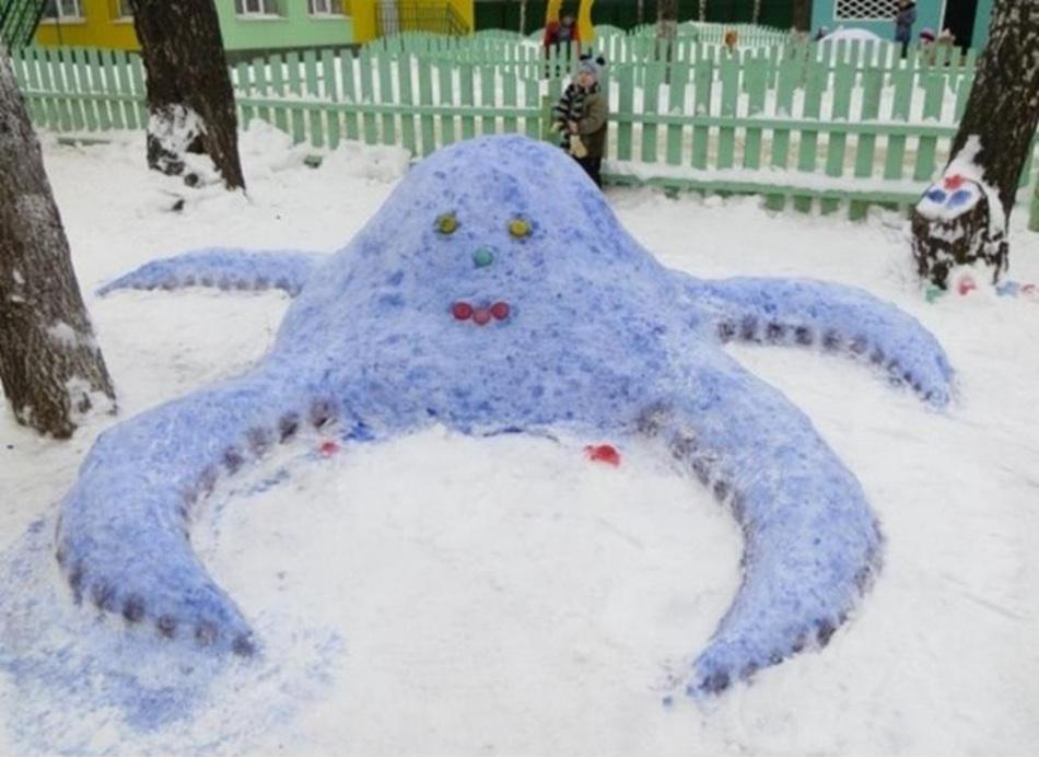 彩色雪章鱼在院子里