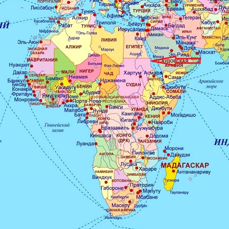 赤い海の赤い矢で示された地図上