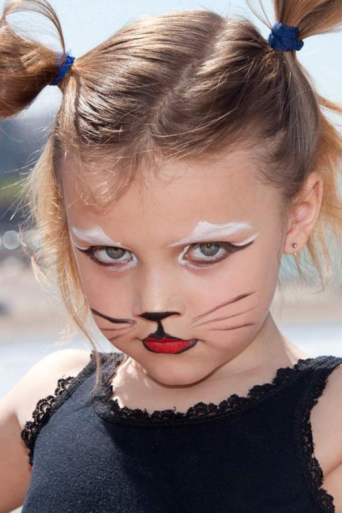 Dalam artikel - kelas master dengan foto dan video, yang akan membantu menggambar kucing, wajah kucing di wajah pada anak.