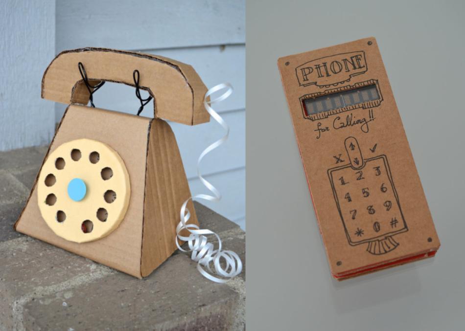 Karton telefon a babákhoz