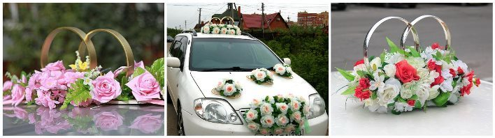 Decoration on the roof of the wedding car do it yourself