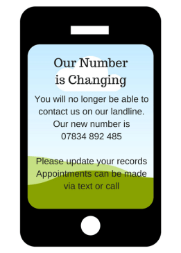 Our number is changing soon. You'' no longer be able to contact us on the landline. our new number%2