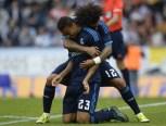 Celebrating Danilo's first goal