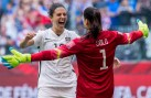 epa04833297 USA's Carli Lloyd (L) and Hope Solo (R) celebrate after the FIFA Women's World Cup 2015 final match between USA and Japan, at BC Place Stadium in Vancouver, Canada, 05 July 2015. EDITORIAL USE ONLY, NOT USED IN ASSOCATION WITH ANY COMMERCIAL ENTITY - IMAGES MUST NOT BE USED IN ANY FORM OF ALERT OR PUSH SERVICE OF ANY KIND INCLUDING VIA MOBILE ALERT SERVICES, DOWNLOADS TO MOBILE DEVICES OR MMS MESSAGING EPA/BOB FRID