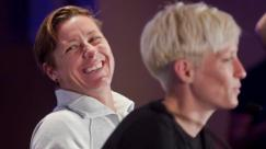United States women's soccer player Abby Wambach, left, laughs as Megan Rapinoe, right, speaks during the U.S. women's national team World Cup media day, Wednesday, May 27, 2015, in New York. The U.S. will face South Korea on Saturday, May 30, at Red Bull Arena in their final send-off match, before leaving for Canada and the 2015 FIFA Women's World Cup. (AP Photo/Bebeto Matthews)