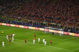 during the UEFA Champions League Final match between Real Madrid and Club Atletico de Madrid at Stadio Giuseppe Meazza on May 28, 2016 in Milan, Italy.