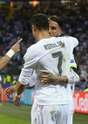 Sergio and Cris celebrate the goal