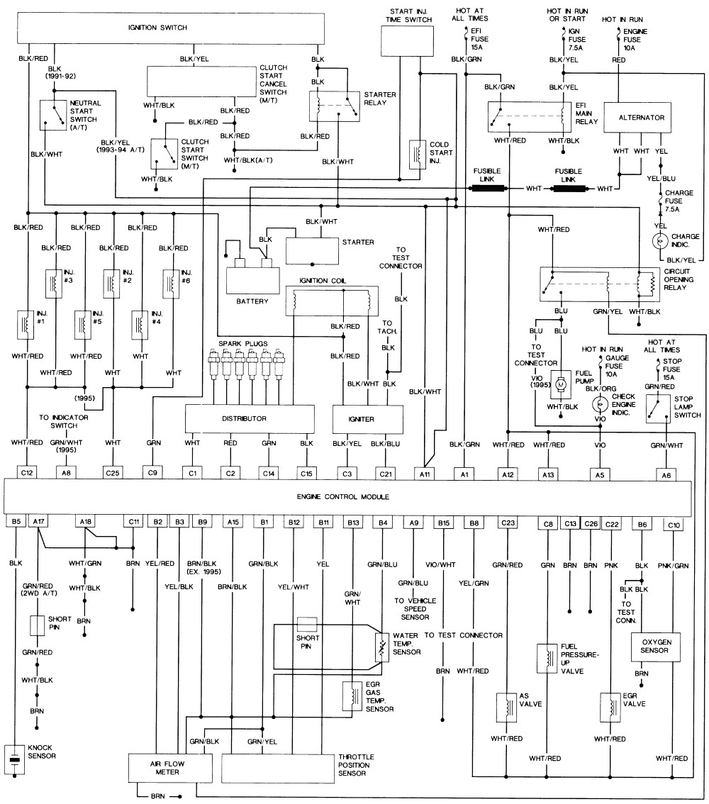 1990 toyota pickup wiring diagram schematic all wiring diagram 87 Toyota Pickup Wiring Diagram