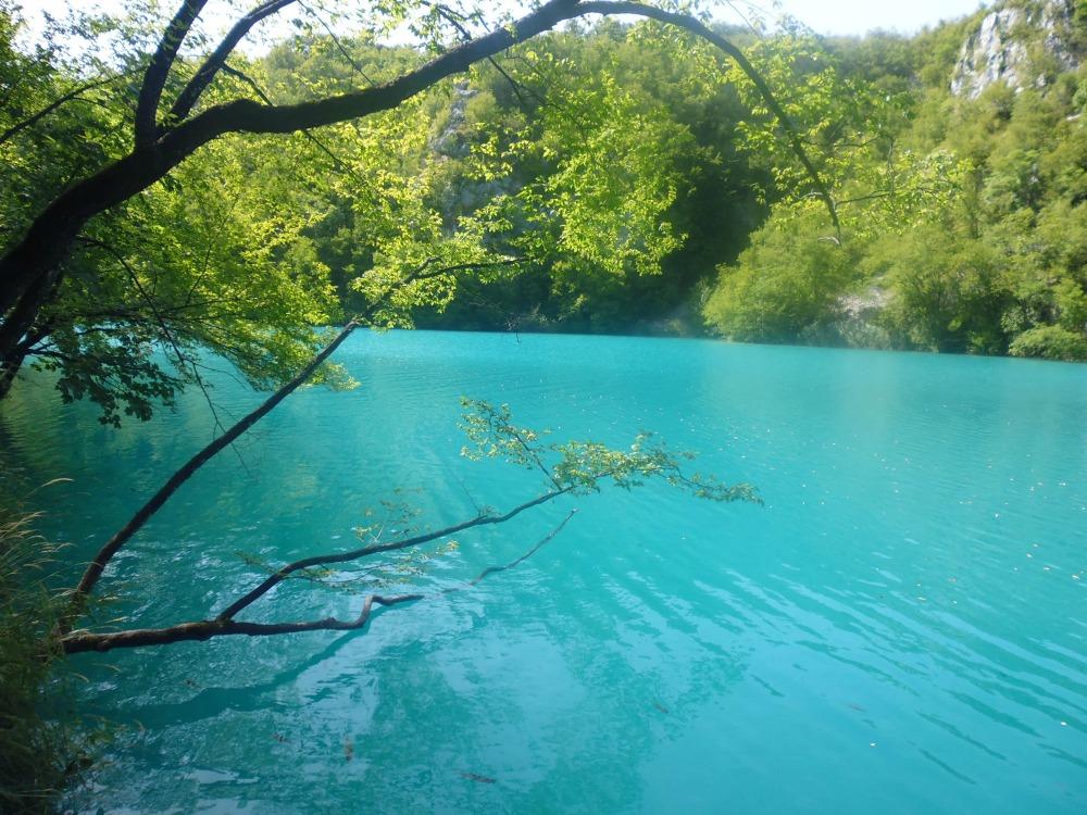 turkusowa woda jezior Plitwickich w Chorwacji