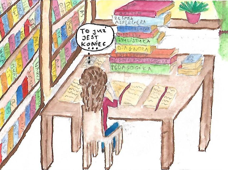 jak to jest studiować dwa kierunki - rysunek akwarelami w bibliotece