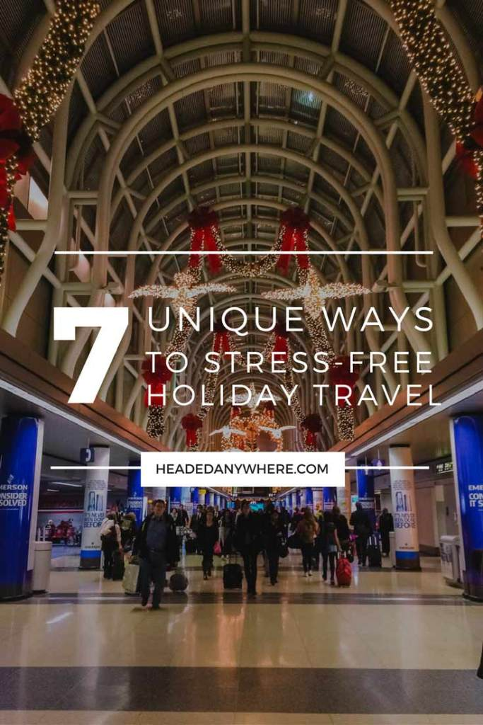 O'hare Airport with Christmas Decorations Pinterest Image