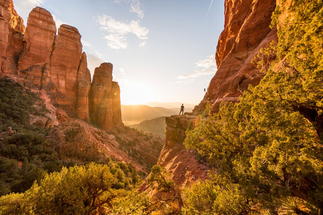 Cathedral Rock formations at golden hour in Sedona Arizona