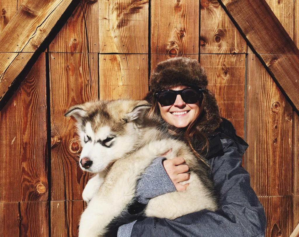Holding Alaskan Malamute Puppy