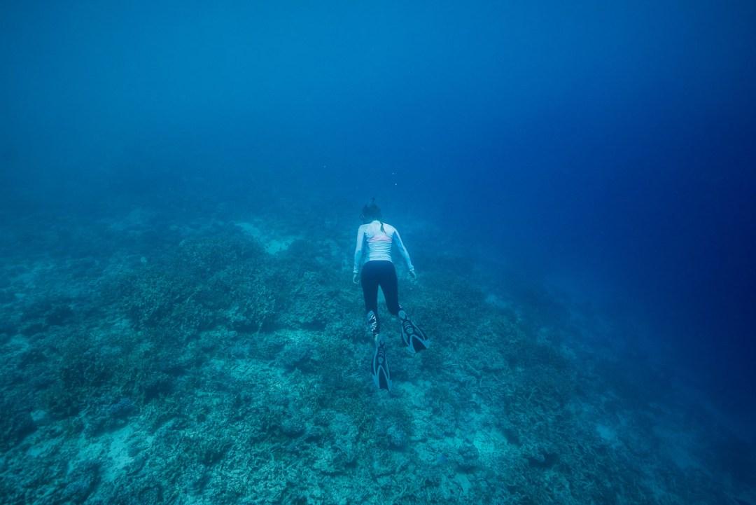 Woman snorkeling in Tonga