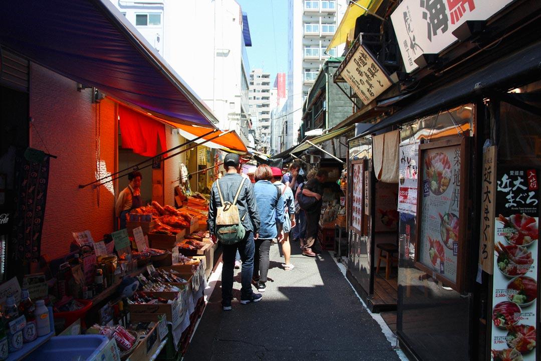 Tokyo Tsukiji Fish Market Stalls