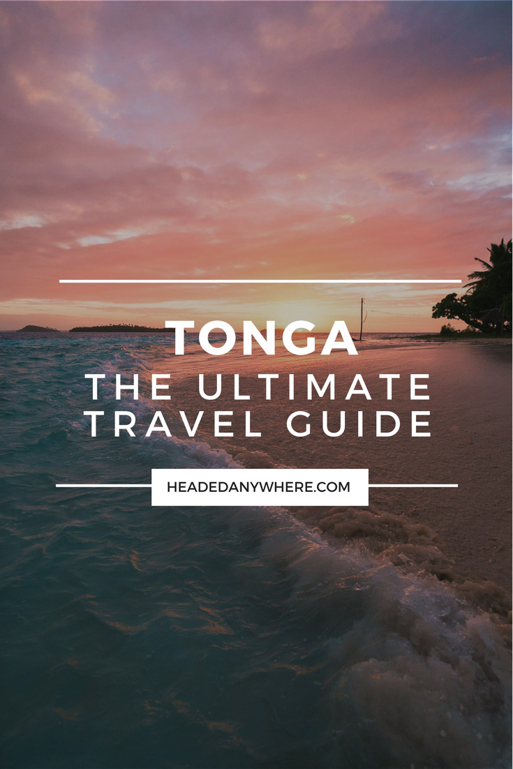 Beach at sunrise with text on image that reads Tonga: The Ultimate Travel Guide