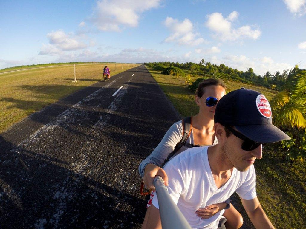Selfie Riding a scooter on Aitutaki