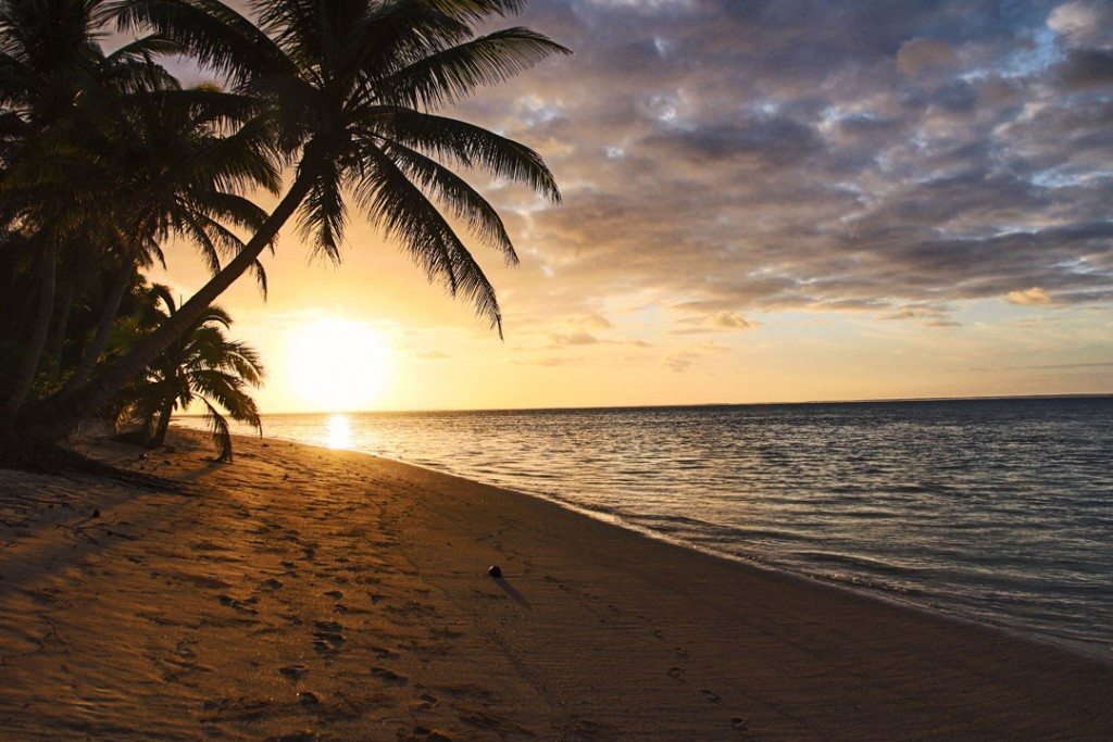 Sunrise from Titakaveka Beach in Rarotonga Cook Islands