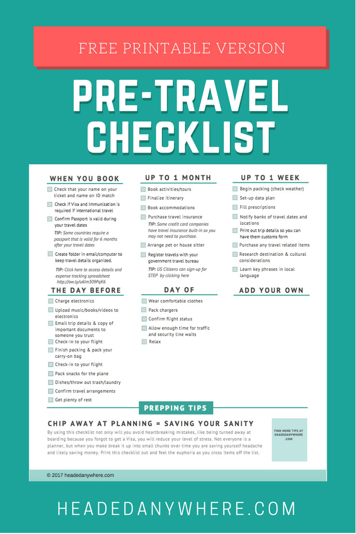 travel planning pre-travel checklist