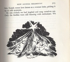 "Sketch from Caroline's book ""New Guinea Headhunt"" of the upside-down palmetto used as a Christmas tree."