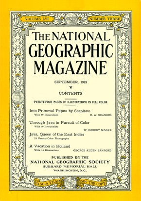 Cover of the September 1929 National Geographic Magazine.