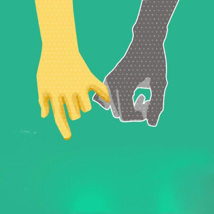 Держаться за руки, когда один держит другого запалец