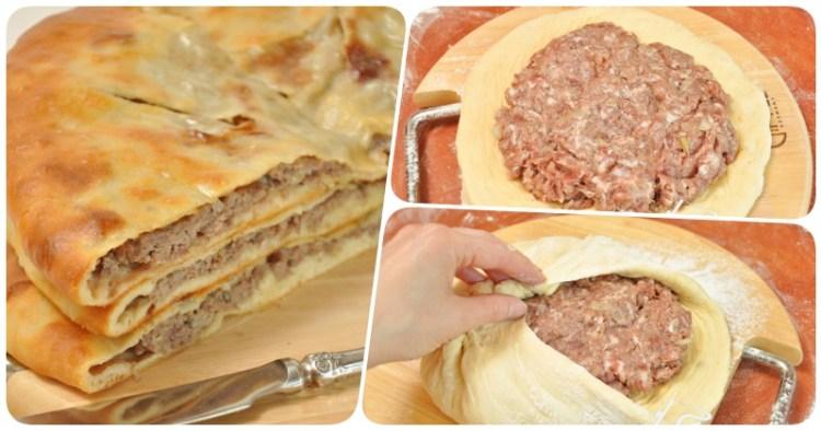 Сытный пирог с картофельно-мясной начинкой: сочная комбинация в тонкой рубашке из дрожжевого теста