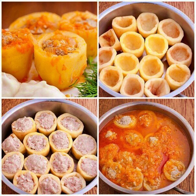Простой рецепт вкусной фаршированной картошки с мясом